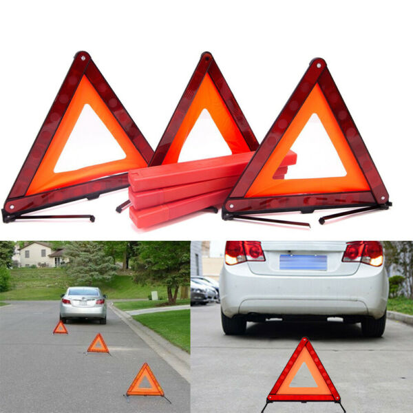 Car Triangle Safety Warning Parking Sign Reflective Foldable Road Emergency 3Pcs