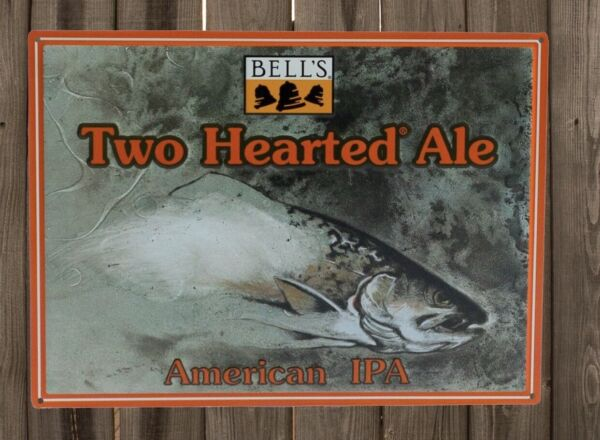 New Bell's Brewing Two Hearted Ale Metal Tin Tacker craft beer. Man Cave.