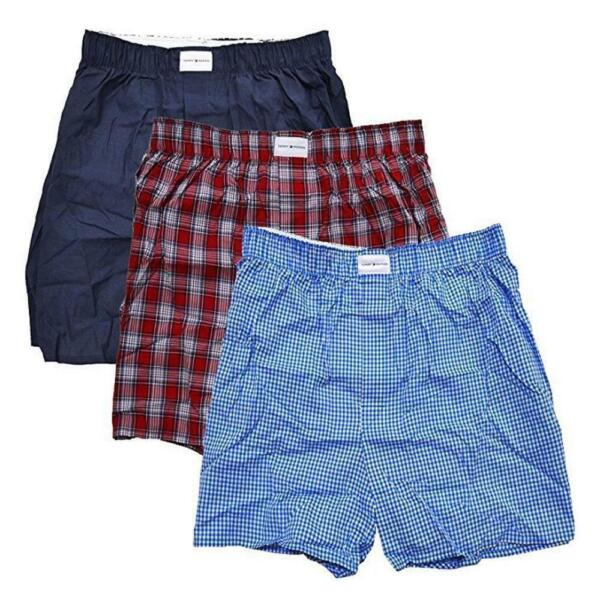 Tommy Hilfiger Men#x27;s 3 Pack Cotton Woven Boxer Small RED $17.99