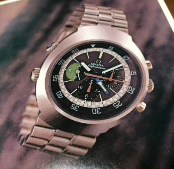 Vintage Omega Flightmaster mens wristwatch diver advertisement 1969 7 inches