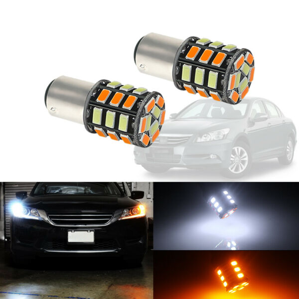 2x Switchback 1157 S25 31 SMD LED Bulbs For Front Turn Signal DRL Driving Lights