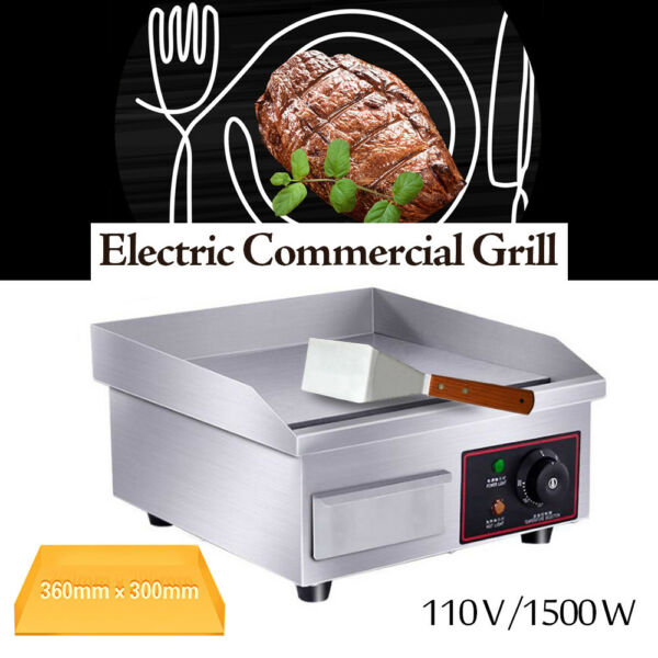 Electric Griddle Flat Top Grill 1500W 14quot; Hot Plate BBQ Countertop Commercial