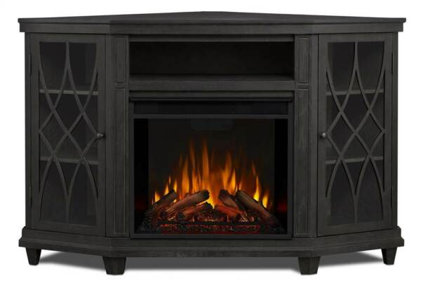 Lynette Electric Fireplace in Gray Finish [ID 3710287]
