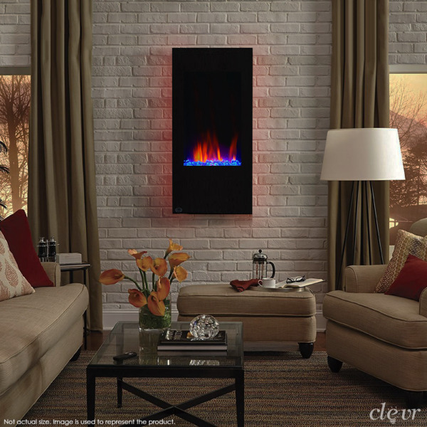 Clevr 32quot; Vertical Wall Mount Electric Fireplace Heater w Backlight amp; Remote