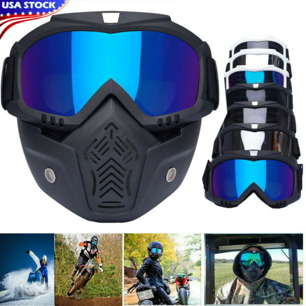 Flexible Motorcycle Goggles Full Face Mask Dirt Bike Riding Ski Snow Equipment $11.11