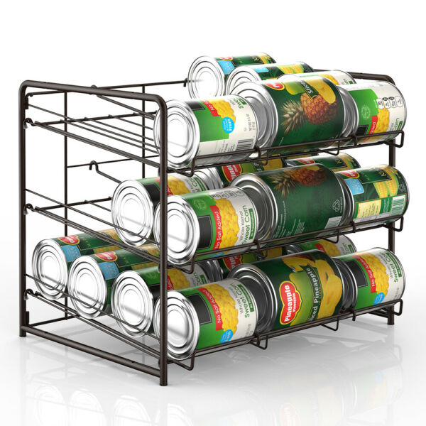 Can Rack Storage Pantry Organizer Kitchen Cabinet Shelf Holder 36 Cans