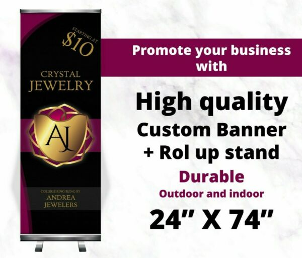 24quot;x74quot; Custom Roll Up Retractable stand Banner Stand Trade Show HIGH QUALITY $85.00