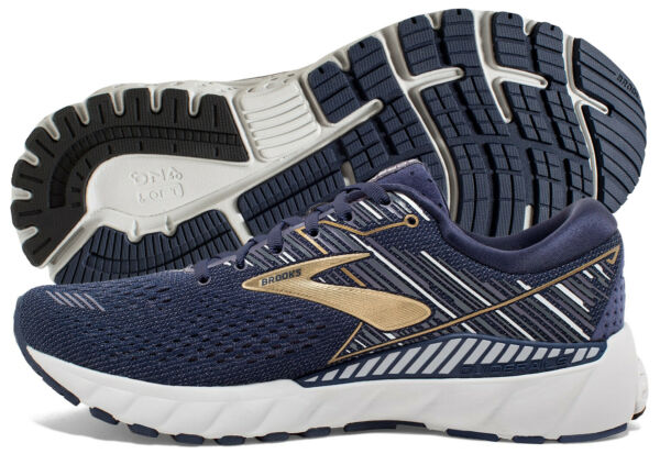 Brooks Adrenaline GTS 19 Mens Shoe NavyGoldGrey multiple sizes New In Box