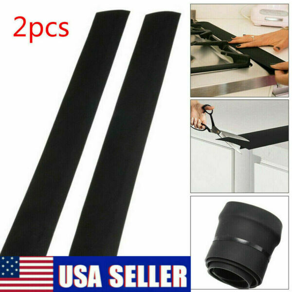 2Pcs Kitchen Stove Counter Gap Cover Silicone Oven Guard Spill Seal Slit Filler