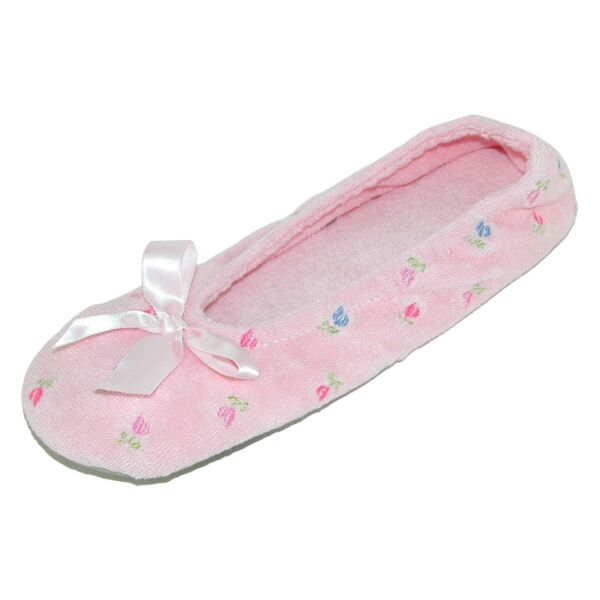 New Isotoner Women's Embroidered Terry Ballerina Slippers