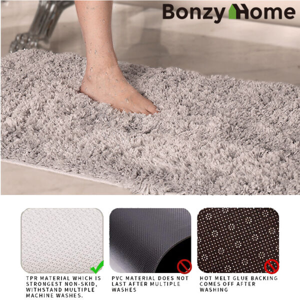 Fleece Plush Mat Bathroom Shower Rug Thick Bath Mat Non-Slip Carpet Absorbent