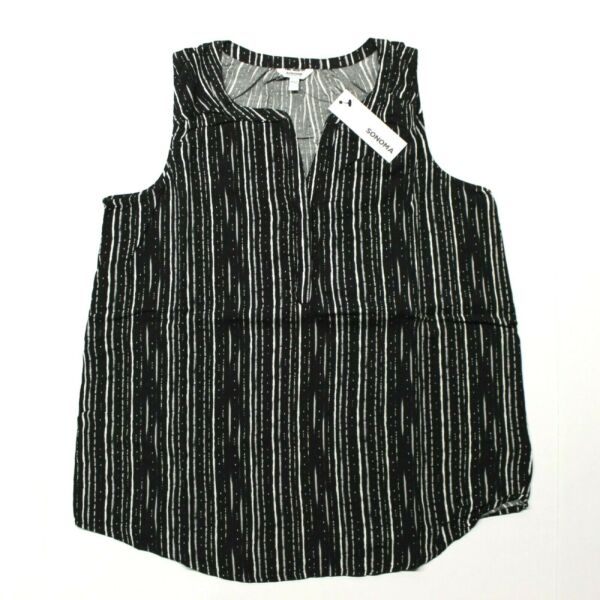 Women's Sonoma Goods For Life Printed Tank Top (WS81W025RP) Black Blurred Stripe