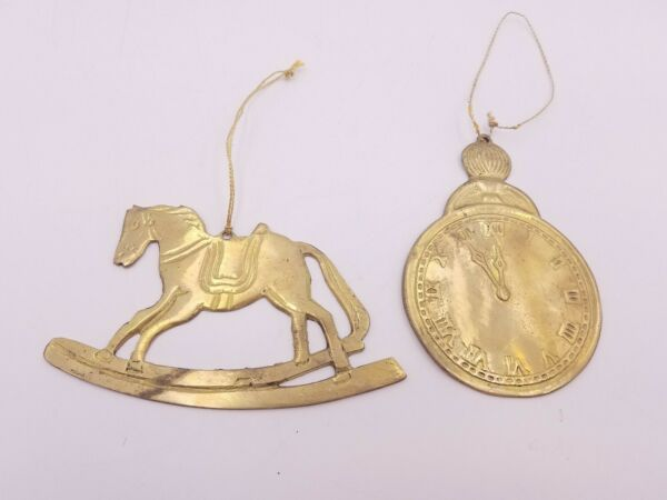 2 Pcs Solid Brass Christmas Ornament Decoration Clock Rocking Horse Hanging Used
