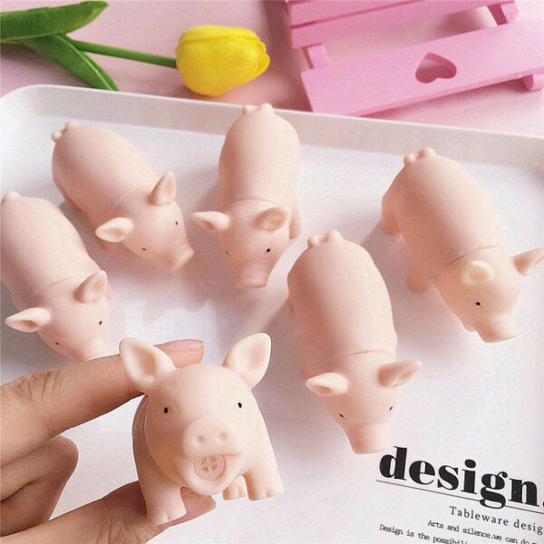 Pet Pig Grunting Squeaky Rubber Chew Squeaker Sound Funny Release Toys
