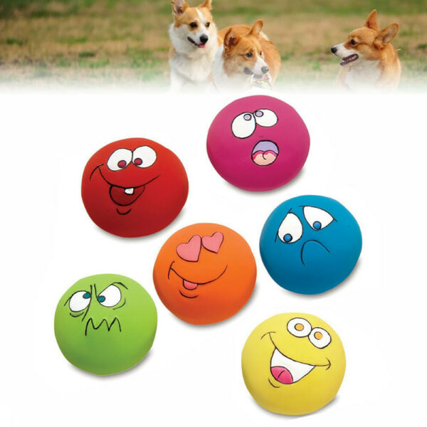 Durable Pet Dog Puppy Fun Play Squeaky Rubber Ball With Face Fetch Toy6PCS