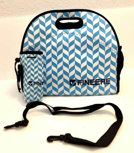 Fineere Neoprene Insulated Lunch Bag Tote with Bottle Bag