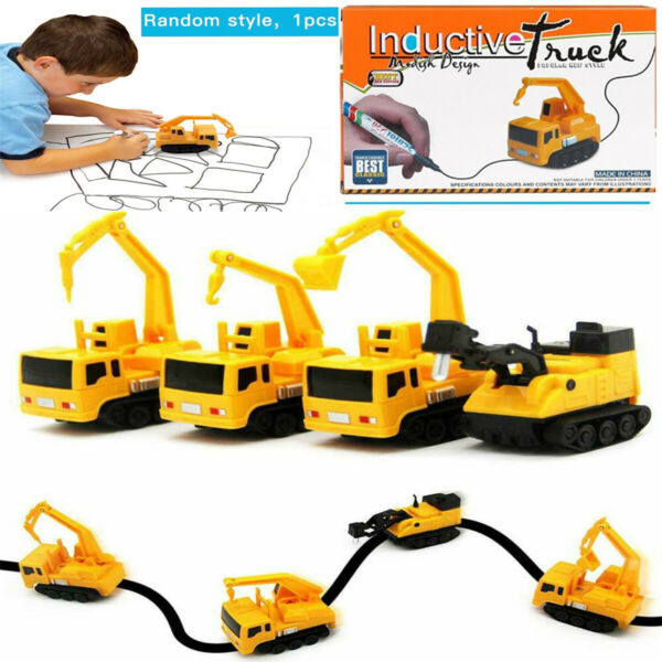 Kids Magic Inductive Truck Toy Automatic Follow The Line You Draw Toy Car Child