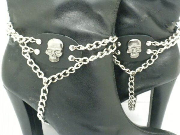 GENUINE LEATHER Skull Boot Straps with Adjustable Chain and Buckle $26.99