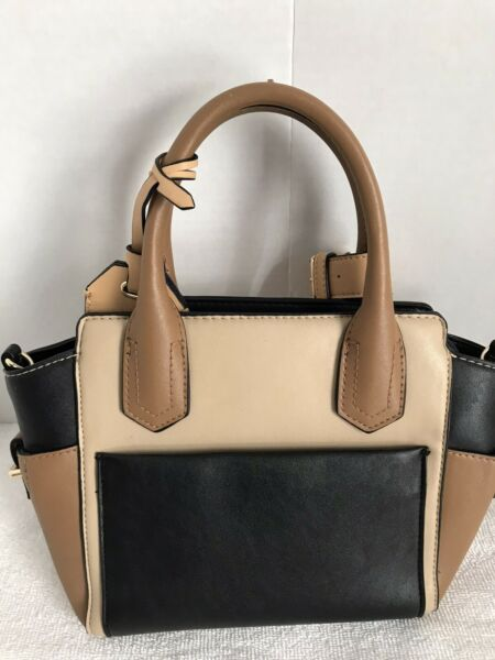 Reed Modern American Luxury Small Tote Shopper Handbag Black Cream Tan $8.75