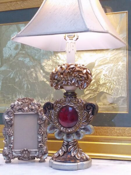 Elegant Silver Scroll Leaf with Red Circle CandleStick Style Unknown Table Lamp