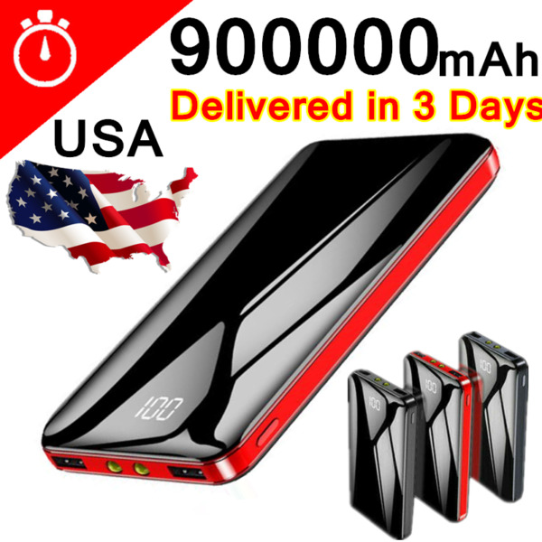 Portable Power Bank 900000mAh Universal Polymer 2USB External Battery Charger