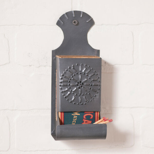 Wall Mount Vintage Matchbox Cover in Antique Punched Tin Vintage Match Holder