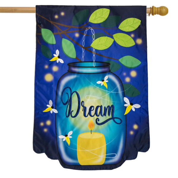 Dream Mason Jar Applique Summer House Flag Fireflies 28