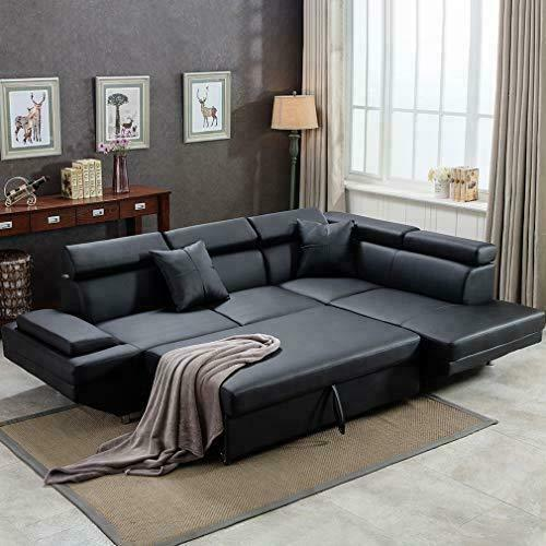 2PC Sleeper Sectional Sofa R Black Faux Leather Corner Sofa Bed Living Room Set