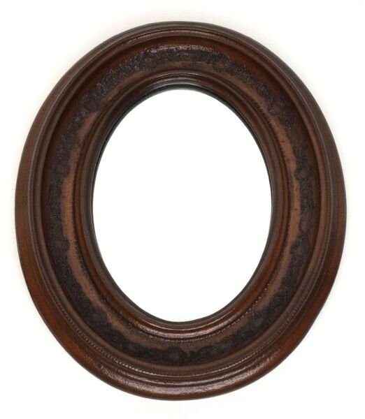 Ethan Allen Small Oval Solid Wood Mirror Carved Ornate Vintage 10 14