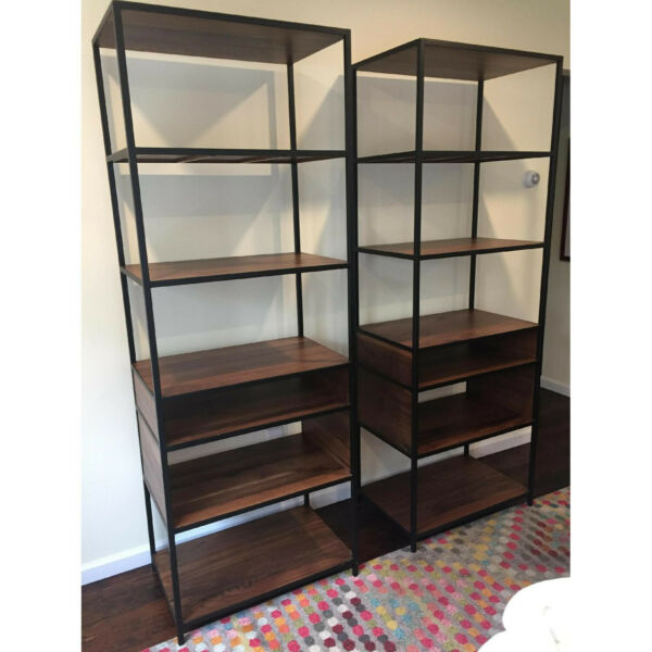 Crate & Barrel Knox Bookcases  Tall Shelves in WalnutIron (pair) - MINT
