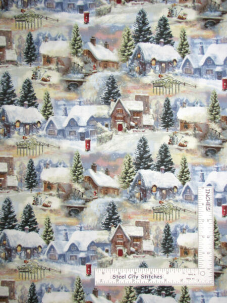 Christmas House Village Snow Tree Cotton Fabric HGamp;Co Winter Cottage By The Yard