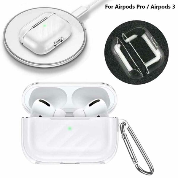 For AirPods Pro Headset Charging Charger Silicone Crystal Clear TPU Case Cover