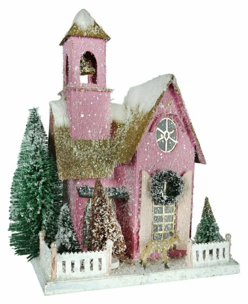 Cody Foster Frosted Pink Adobe Holiday Christmas Village Mantel House