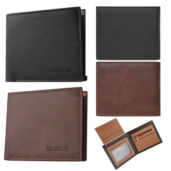 Fashion Men Leather Cash Card Case Holder Zipper Bifold Wallets Money Clip Purse