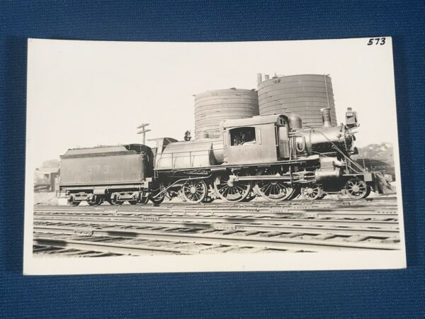 Central Railroad of New Jersey Locomotive 573  Pt Pleasant RPPC Photo Postcard