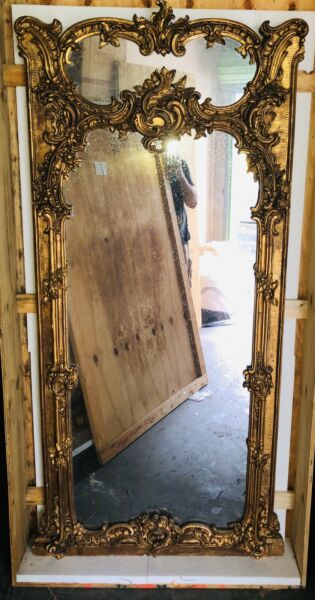Louis XV Antique Trumeau Mirror  Gilded Wood  Intricate Trumeau Mirror  Crated