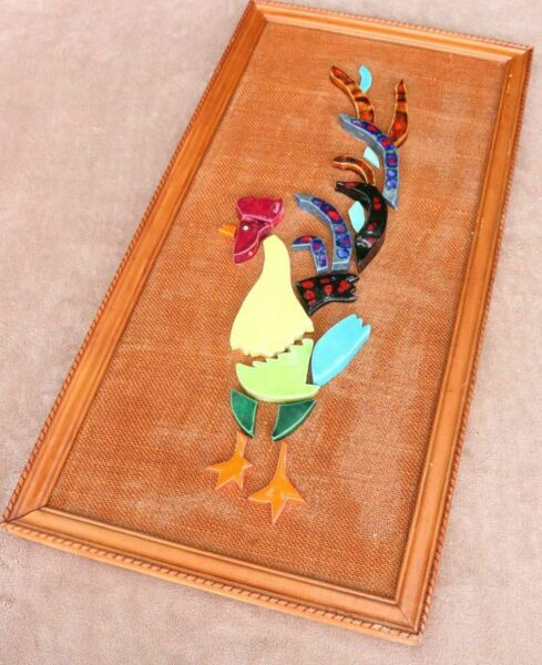 Mid Century Modern Mosaic tile rooster Art style wall hanging Burlap Ceramic Old