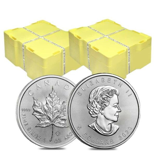 2 Monster Boxes of 500 - 2020 1 oz Canadian Silver Maple Leaf .9999 Fine $5 Coin