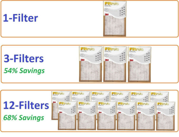 Filtrete Air Filter Basic Pleated Furnace Replacement Pad Dust Pack Lot 3M 6 12 $24.99