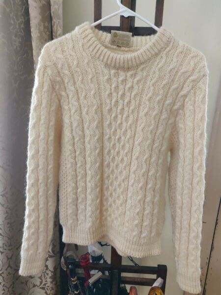 Gaeltarra Cable Knit Wool Sweater Ivory 97cm  38