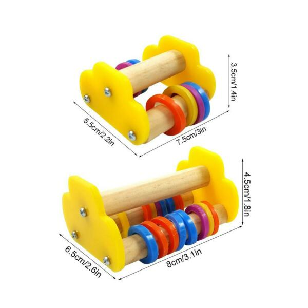 Pet Chews Toys Parrot Roller Skate Woods Cage Stand Training Education Toy $9.08