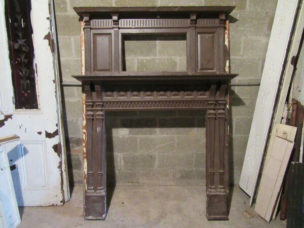 TALL ORNATE ANTIQUE FIREPLACE MANTEL 55 X 74 ARCHITECTURAL SALVAGE