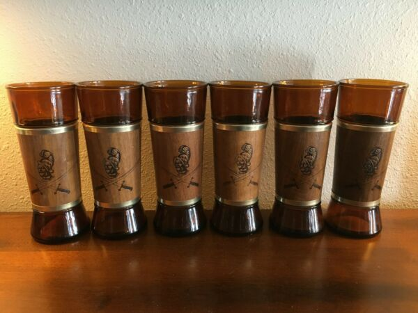 Vintage Walnut Amber Siesta Ware Conquistador Highball Tumblers $25.00