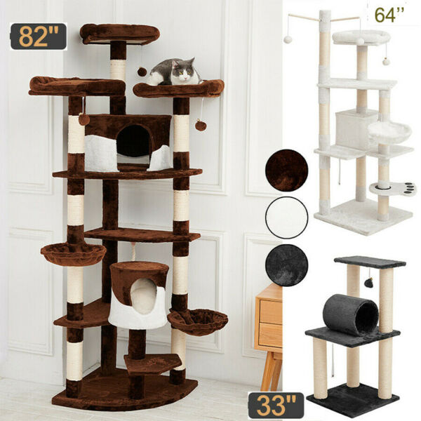 Sisal Scratching Post Cat Tree House Condo Tower Play Kitty Climbing Furniture $29.39