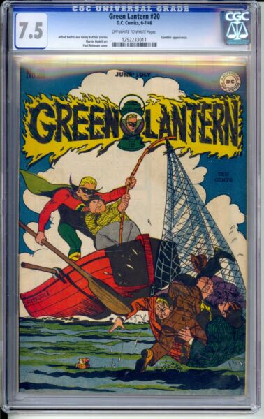 GREEN LANTERN #20   CGC 7.5 VF-  NICE OFF WHITEWHITE PAGES!   FISHING COVER!