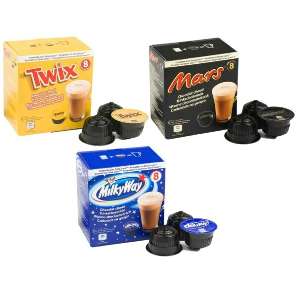 NESCAFE DOLCE GUSTO CAPSULES HOT CHOCOLATE DRINK TWIX MILKY WAY MARS