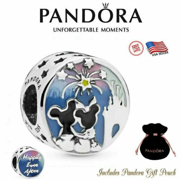 Authentic Pandora Disney Parks Exclusive Mickey and Minnie Mouse Fireworks Charm