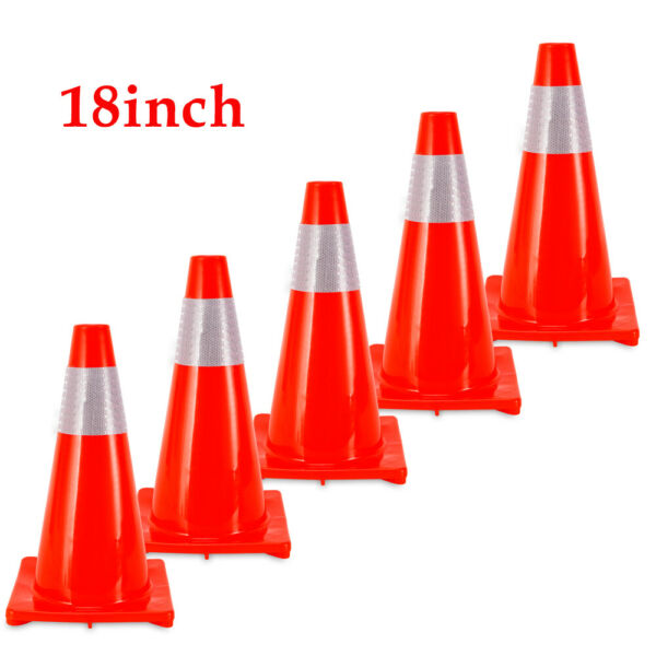 5 Pack 18 inch Traffic Cones Multi Purpose Reflective Safety Cone Road Safety
