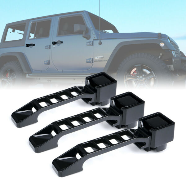 Xprite 3pcs Black Aluminum Exterior Door Handles Set for 07 18 Jeep Wrangler JK
