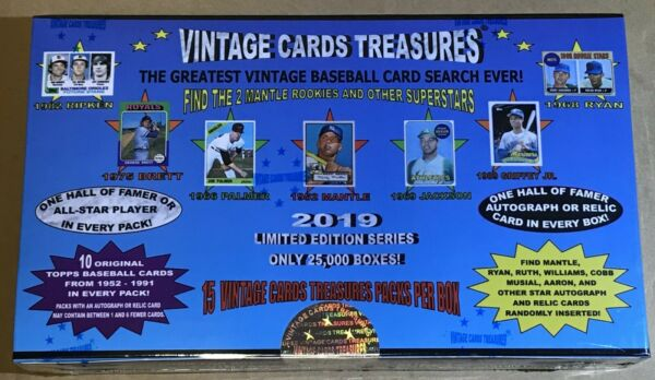 2019 VINTAGE CARDS TREASURES BASEBALL CHASE PACK BOX! FIND 1952 TOPPS MANTLE!